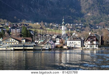 ST. GILGEN, AUSTRIA - DECEMBER 14: St. Gilgen on Wolfgang See lake, Austria on December 14, 2014.