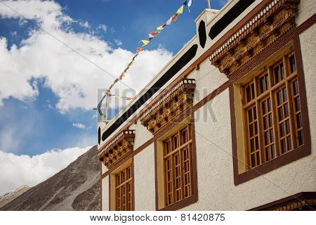 Tibetan House and blue sky in Jammu-Kashmir Ladakh ,India - September 2014