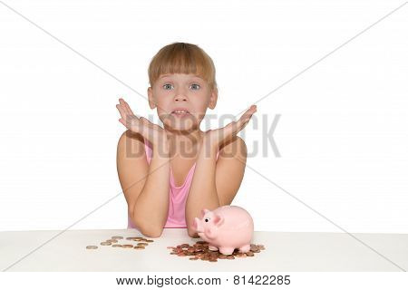 Surprised Girl With Piggy Bank Isolated