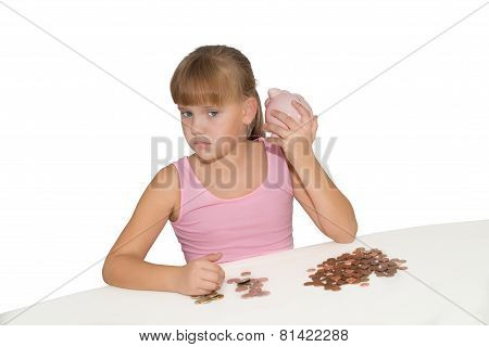 Girl With Piggy Bank Isolated