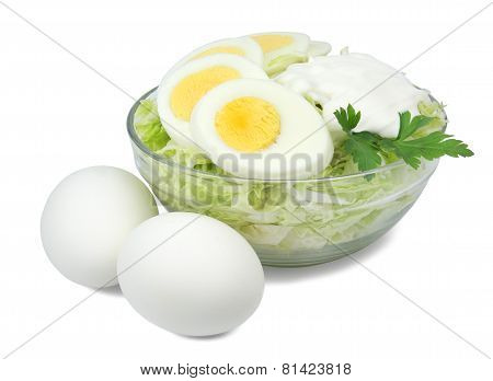 Salad of cabbage and eggs