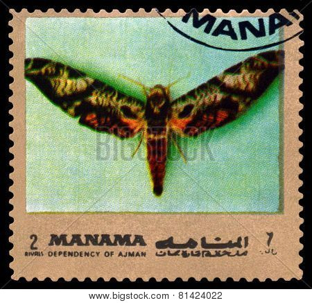 Vintage  Postage Stamp. Butterfly Protambulyx Eurycles.