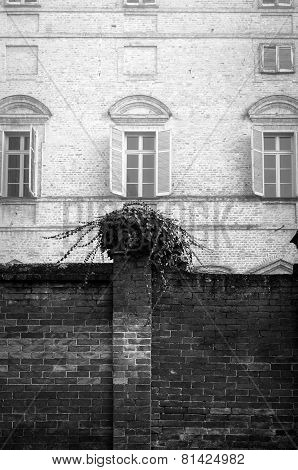 Govone Castle, Cuneo, detail. Black and white photo