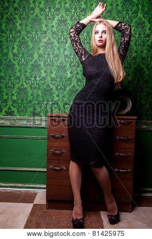Beautiful Woman Full Body In Green Vintage Room