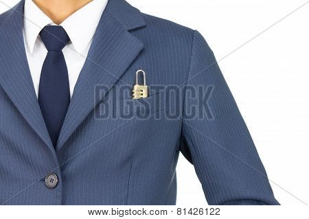 Businessman And Combination Lock In Pocket On Straight View Isolated On White Background
