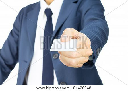 Businessman Hold Business Card Or White Card In Straight View Isolated On White Background