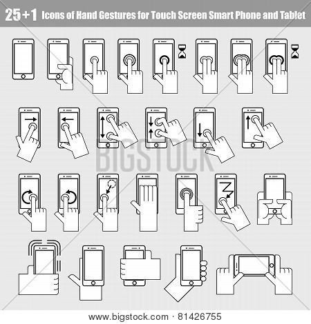 25+1 Icons Of Hand Gestures For Smart Phone