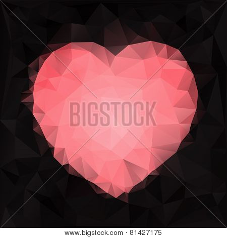 Stylized heart shape made of triangles