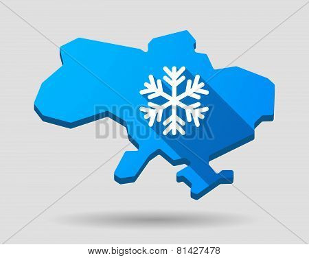Ukraine Green Map Icon With A Snow Flake