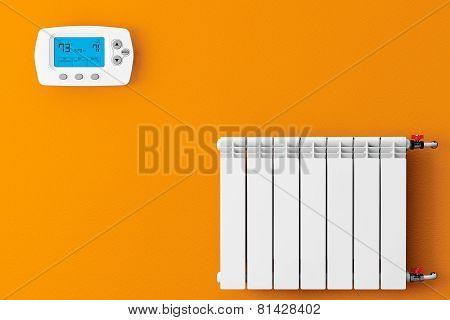 Modern Heating Radiator With Programming Thermostat