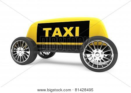 Taxi Sign On A Wheels