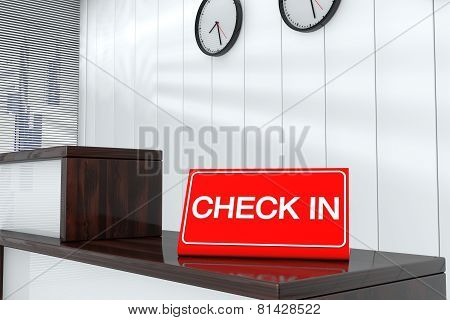 Check In Sign Plate 3D Render Interior