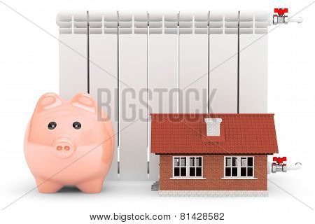 Modern Heating Radiator With Piggy Bank And House