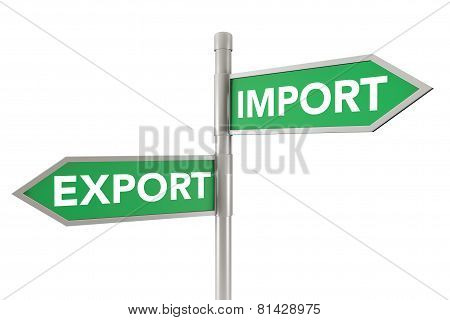 Green Arrow Export And Import Road Signs