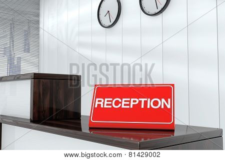 Reception Sign Plate 3D Render Interior