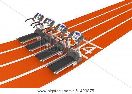 Treadmill Machine Over Running Track