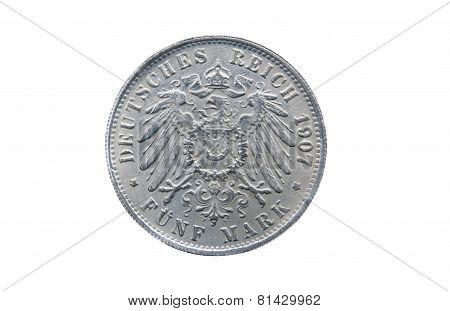 Old Silver Five Mark Of German Reich