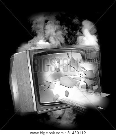 OLD EXPLODING TELEVISION SET