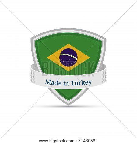 Brazilian flag on the shield