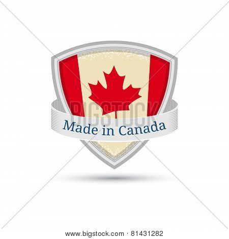 Made in Canada, Canada flag label on the shield