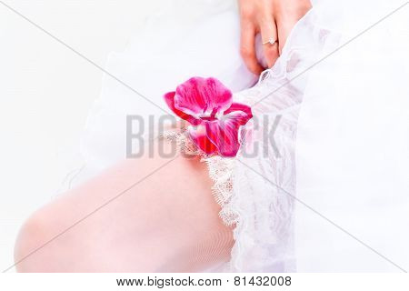 Macro Shot Of Legs In Stockings Bride