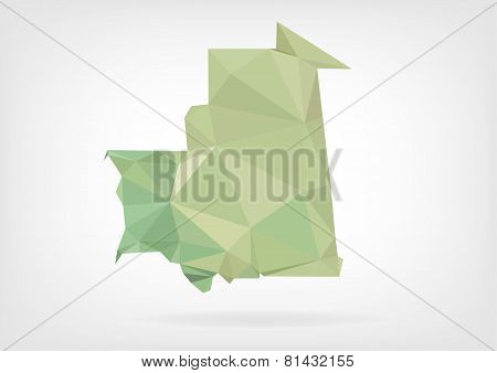 Low Poly map of Mauritania