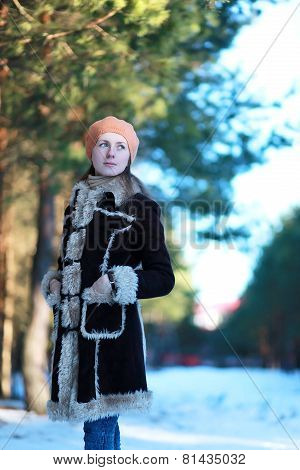 Cute Young Girl In Jacket And Beret