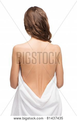 Back shot of slim young woman