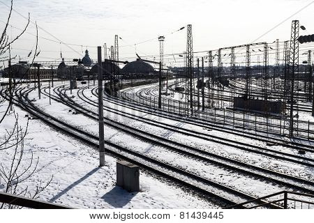 Railroad tracks at the train station in Lviv