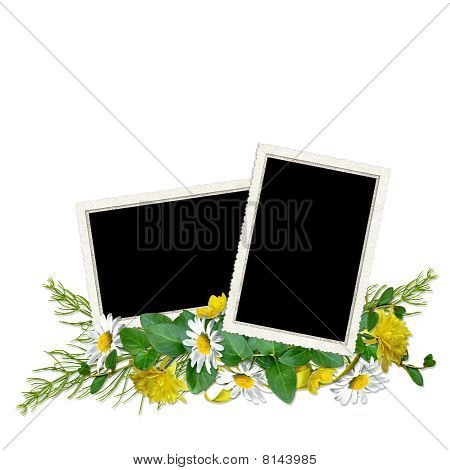 Isolated Delicate Frame For Three Photos With Colorful Flowers