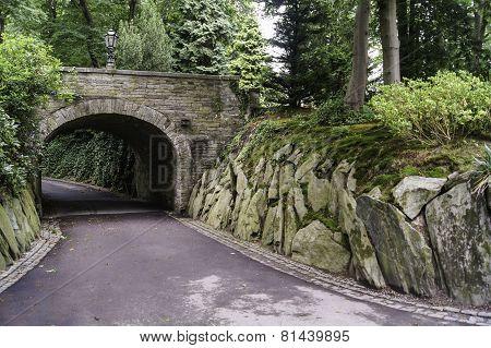 stone bridge with a lantern