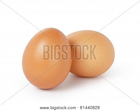two brown eggs isolated