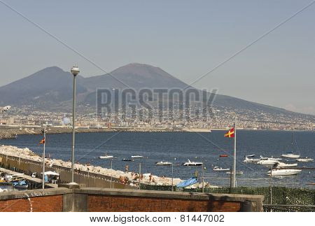 Landscape View Of The Vesuvio and the Gulf of Naples