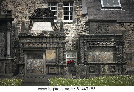 Antique Facades And Cemetery In Edinburgh City Downtown. Scotland. Uk