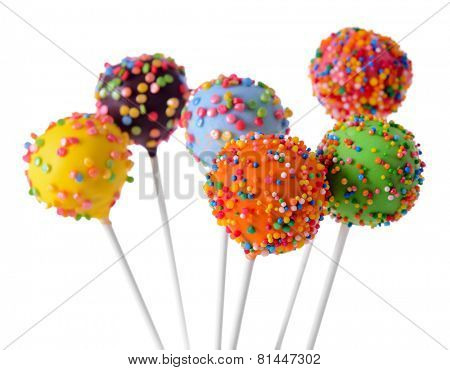 Sweet cake pops isolated on white