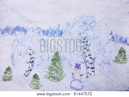 Child Picture Of Winter Forest