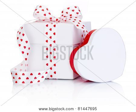 Two White Boxs Tied Satin Ribbon Bow With Heart Symbol Isolated On White Background