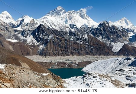 View Of Everest, Lhotse And Makalu From Renjo La Pass