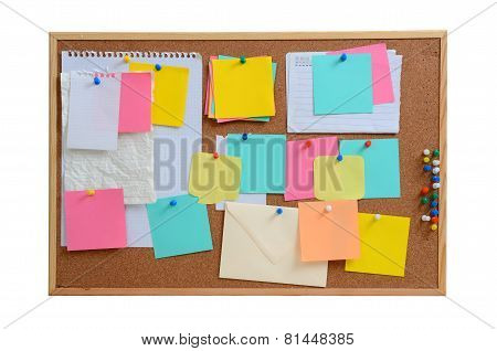 Blank Notes Pinned Into Brown Corkboard