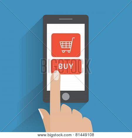 Hand holing smartphone with buy button on the screen