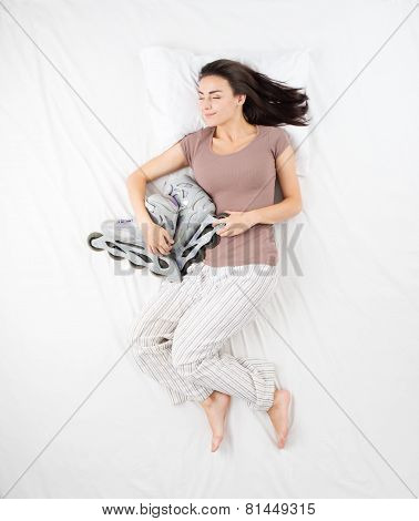 Woman sleeping with roller skates