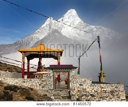 Buddha In Pangboche Monastery And Mount Ama Dablam