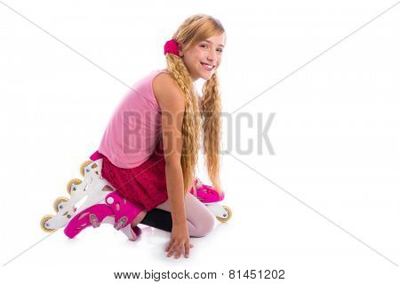 blond pigtails roller skate girl on her knees happy on white background
