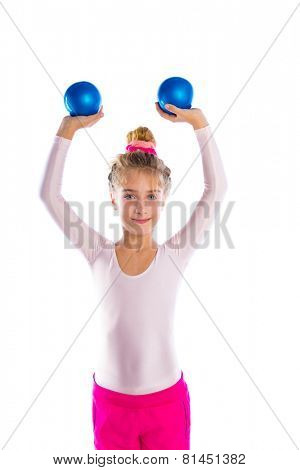 blond fitness kid girls exercise workout with sand balls on white