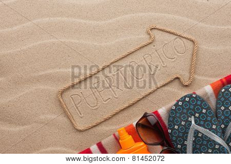 Puerto Rico  Pointer And Beach Accessories Lying On The Sand
