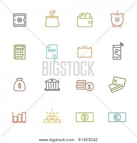 Money and Finance Line Icons Collection. Set of 16 money and finance related colored line icons