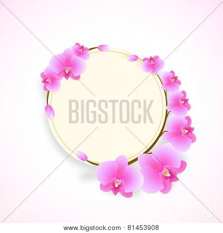 Rounded frame decorated with shiny pink flowers with space for your message on corner shaded background.