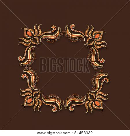 Golden square shaped frame decorated with floral pattern with space for your messages on brown background.