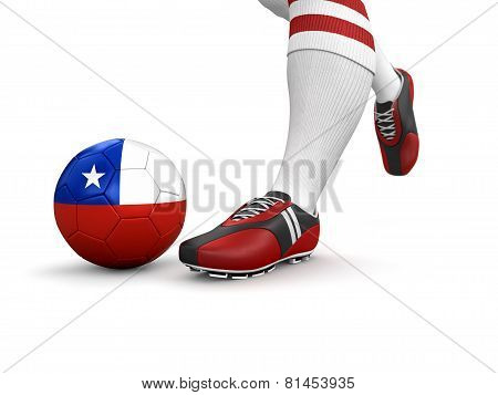 Man and soccer ball  with Chilean flag (clipping path included)