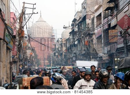 Overcrowded Street In Old Town Delhi